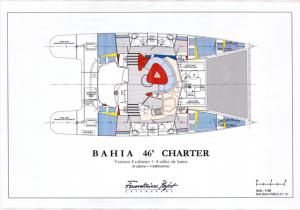 plan détaillé catamaran BAHIA 46